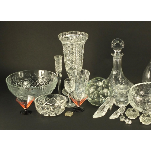 253 - Cut crystal and glassware including vases, decanters, fruit bowls and paperweights...