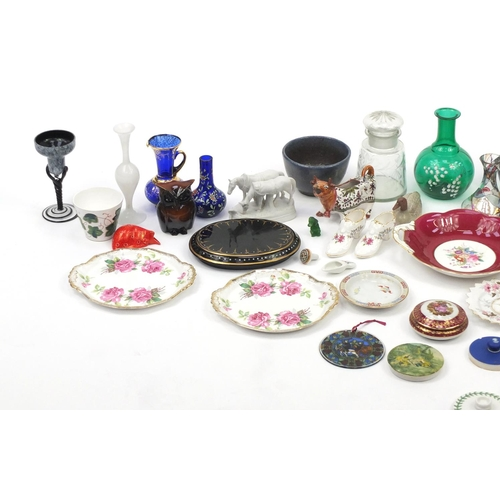 255 - China and glassware including a Wedgwood coffee can and saucer, Studio pottery bowls, Limoges pot an...