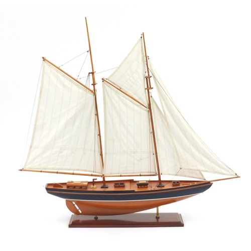 17 - Large wooden pond yacht on stand, 98cm high...