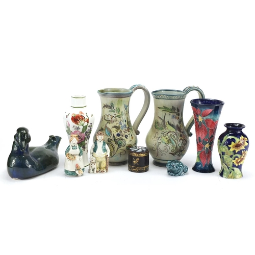 196 - China including hand painted Denby pottery jugs, Rye pottery figural salt and pepper, David Sharp du...