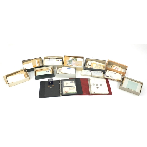963 - Large collection of postal history and an album of coins including a 1887 silver shilling...