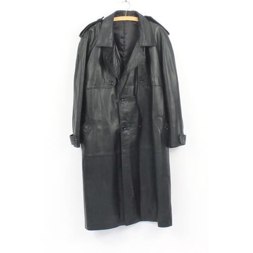 984 - 1980's gentleman's black leather full length coat...