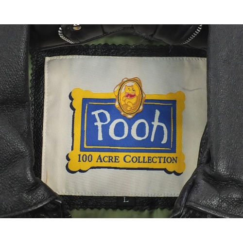 985 - 100 Acre Collection Winnie the Pooh leather bike jacket, size L...