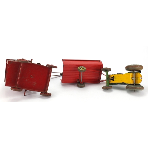 2336 - Mettoy tin plate tractor with trailer and a crane...