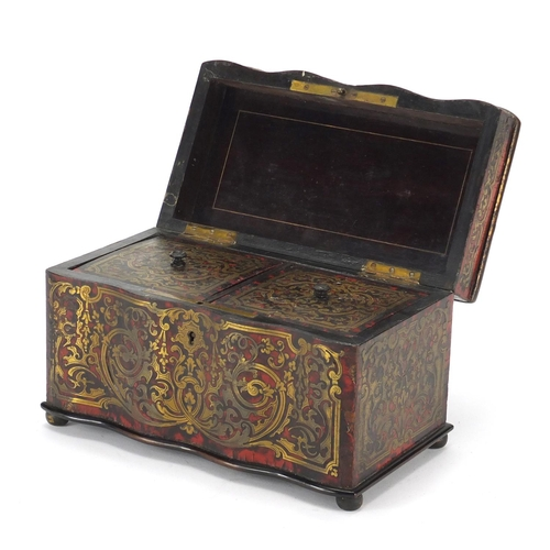 33 - 19th century rosewood and boulle work tea caddy with brass foliate inlay, the hinged lid opening to ...