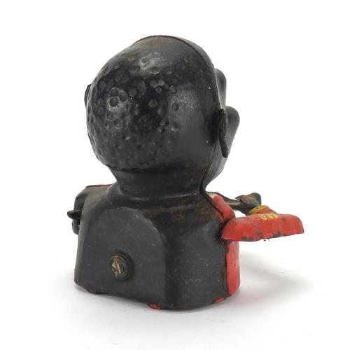 149 - Novelty cast iron jolly man money box, 15cm high...