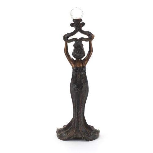 129 - Art Nouveau style Spelter figurine wearing a dress, 41cm high...