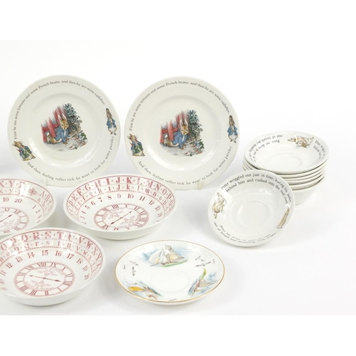 198 - Collectable china including Wedgwood Peter Rabbit cups and saucers, Crown Staffordshire bird and Roy...