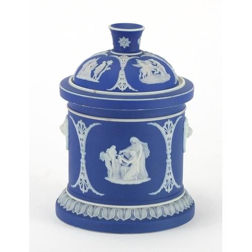 130 - Wedgwood blue and white Jasperware cache pot and cover, 16cm high...