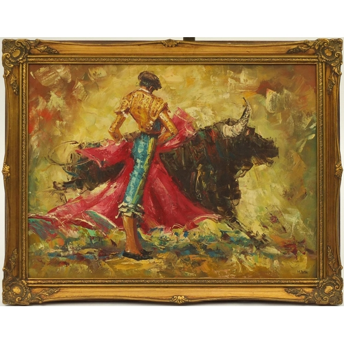 32 - M. Petia - Spanish bull fighter, oil on canvas, framed, 60cm x 44cm...