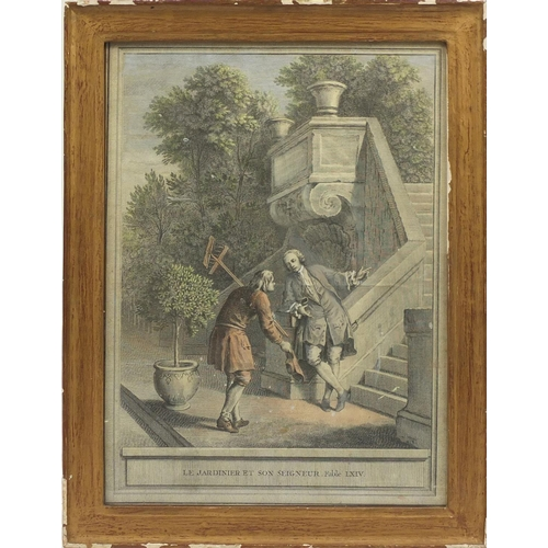 54 - French coloured print of figures, titled 'Le Ardinier Et Son Seigneur. Fable Lxiv, framed, 75cm x 55...
