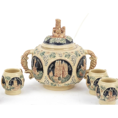 137 - German pottery punch bowl and six cups...