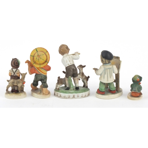 202 - Hand painted German figures of children including two Goebel, the largest 16cm high...