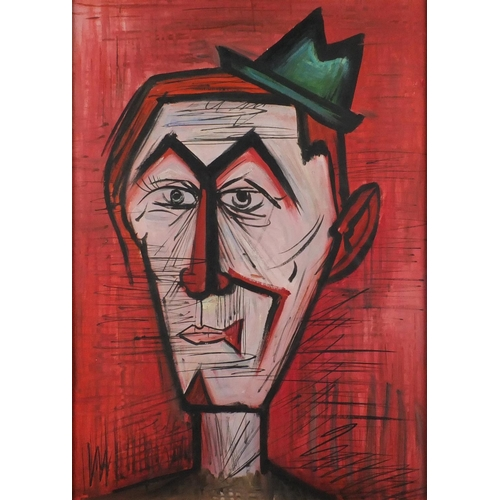 59 - Manner of Bernard Buffet - Head and shoulders portrait, oil on canvas, label verso, mounted and fram...