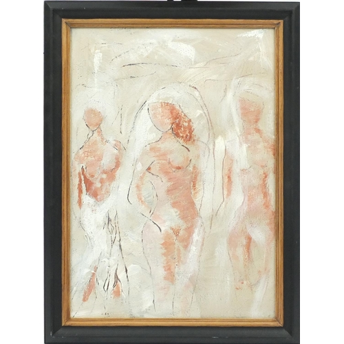 58 - Three nude figures, mixed media on board, mounted and framed, 55cm x 39cm...