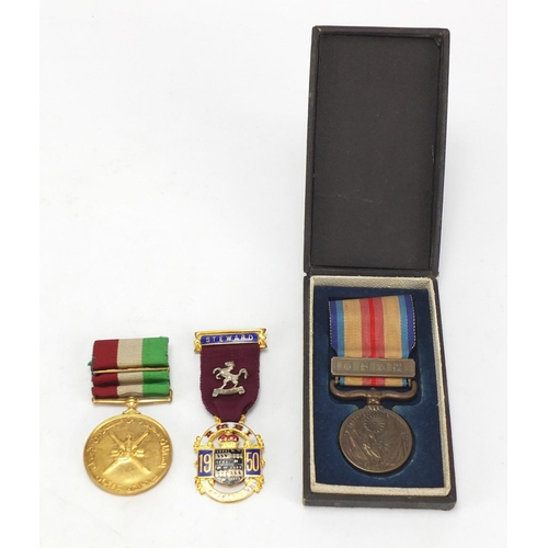 990 - Japanese military medal, Masonic jewel and one other...