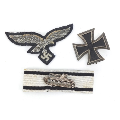 988 - German style Military interest iron cross, cloth patch and tank badge...