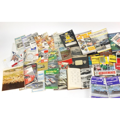977 - Grand Prix and other racing ephemera including Brands Hatch programmes with entry tickets, photograp...