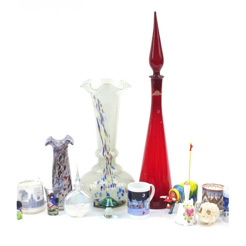 257 - China and glassware including Murano vases, commemorative cups and a Royal Crown Derby pin dish...