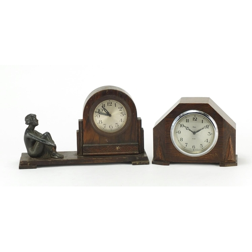 141 - Two Art Deco oak mantel clocks, one with eight day movement...