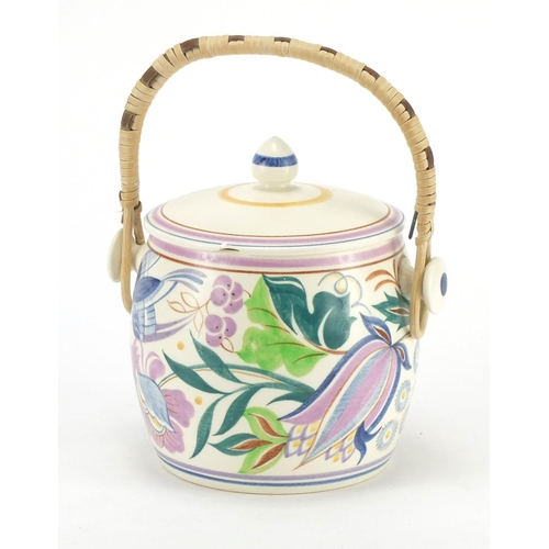 147 - Poole pottery hand painted biscuit barrel and cover, 15.5cm high...