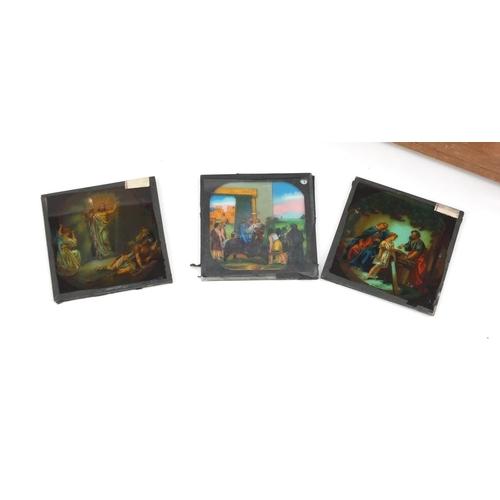 949 - Vintage coloured glass Biblical scene magic lantern slides...