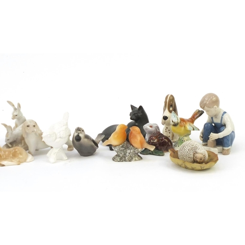 252 - China animals and figures including Lladro cockerel, Szeiler dog, Goebel bird and Crown Staffordshir...