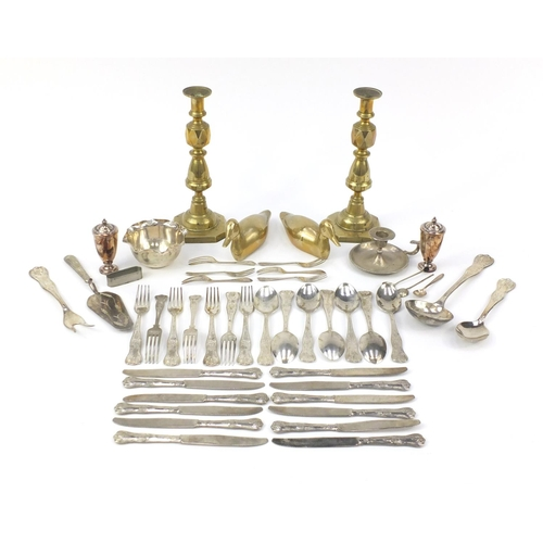 250 - Silver plate and brassware including a pair of Victorian candlesticks and cutlery...