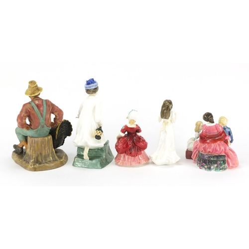 2098 - Five Royal Doulton figures, Wee Willie Winkle HN3031, The Bedtime Story HN2059, Thanksgiving HN2446,...
