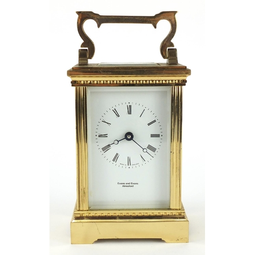 2053 - Brass cased carriage clock retailed by Evans & Evans of Alersford, 12.5cm high...