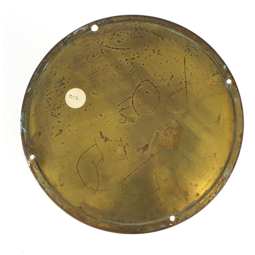 2094 - Empire brass ships bulk head clock, with subsidiary dial and Roman numerals, 20cm in diameter...