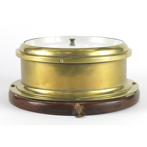 2102 - Ships bulks head wall barometer with a enamelled dial inscribed D Mc Gregor & Co To The Royal Navy G...