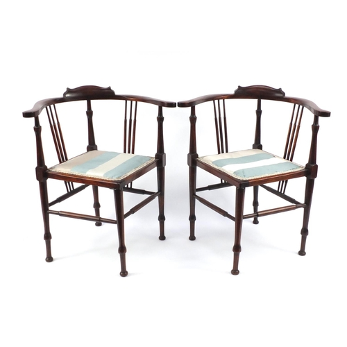 7 - Pair of mahogany spindle back corner chairs with striped upholstery, 71cm high...