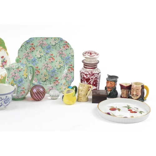 237 - China and glassware including Paragon tea for one service, Toby jugs and Bohemian red flashed glass ...