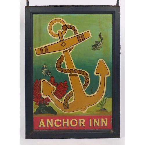 2042A - Hand painted Anchor Inn pub hanging sign, 129.5cm H x 90.5cm W...