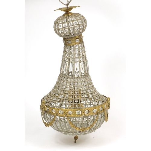2039A - Ornate gilt metal and glass chandelier, 76cm high...