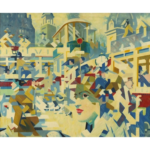 2177 - Abstract composition, town scene with a cubist figure, oil on board, bearing a signature A L Hote an...