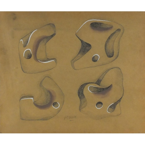 2071 - Manner of Henry Moore - Four Modernist studies, mixed media on paper, mounted and framed, 43.5cm x 3...