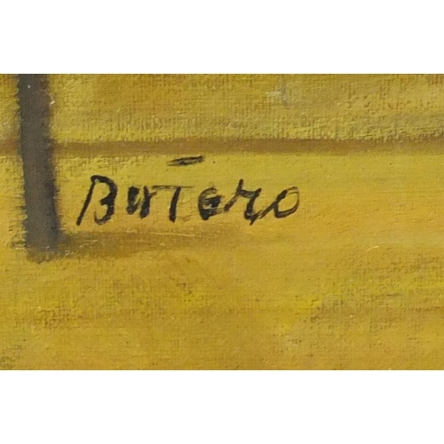 2120 - After Fernando Botero - Ballerina, oil on board, mounted and framed, 72.5cm x 47cm...