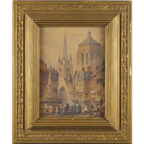 2149 - Henry Schaefer - Figures before a cathedral, 19th century heightened watercolour on paper, framed, 2...