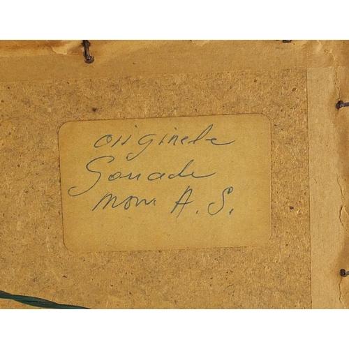 2116 - Continental landscape, watercolour and gouache, bearing a monogram AS, framed, 36cm x 24.5cm...