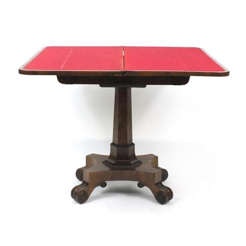 16 - Georgian rosewood folding card table, 73cm H x 92cm W x 45cm D (folded)...