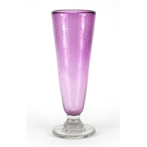 159 - Large purple art glass vase with controlled bubbles, 38cm high...