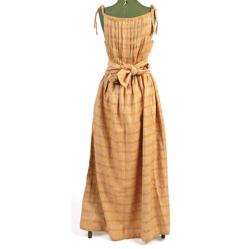 987A - 1970's tweed maxi dress with scarf, probably size 12...