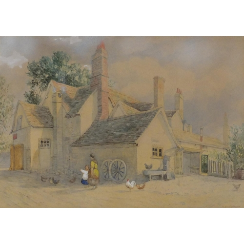 36 - Samuel David Colkett - An Inn Yard, 19th century pencil and watercolour, label verso, mounted and fr...