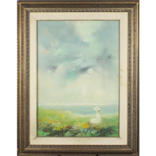 57 - Impressionist coastal scene with a female beside flowers, oil on canvas, bearing an indistinct signa...