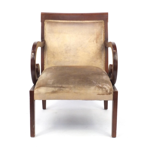 39 - Regency style mahogany framed open armchair with scrolled arms, 86.5cm high...