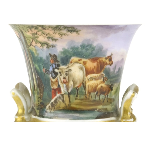 194 - 19th century campana urn vase with twin handles, hand painted with a farmer and cattle, 17.5cm high...