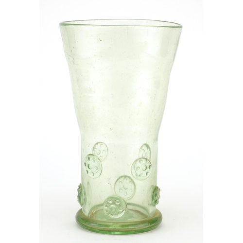 413 - 19th century continental green glass vase, 31cm high...