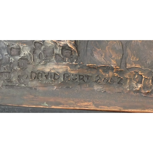 2032 - David Burt 2002 - Twin Towers, relief bronze plaque, framed, 51cm x 35cm...